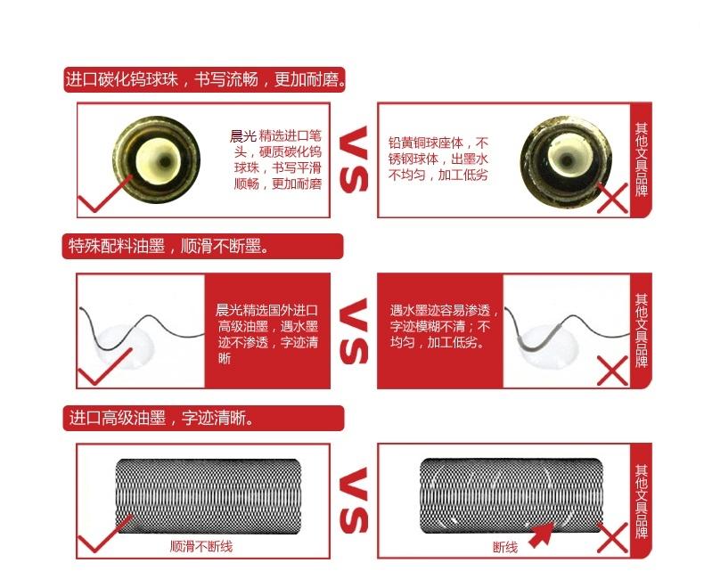 晨光 M G 2907 中性笔替芯 笔芯 黑 0.38mm 20支装