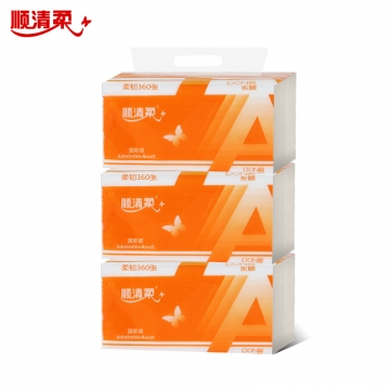 顺清柔 A0024 (190mm*155mm)加厚 橙色抽纸   3包/提 1提装