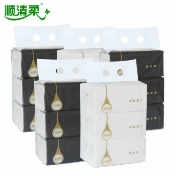 顺清柔 0222 顺清柔软包抽纸纯净系列纸巾120抽3层 3包/提 黑、白随机 5提